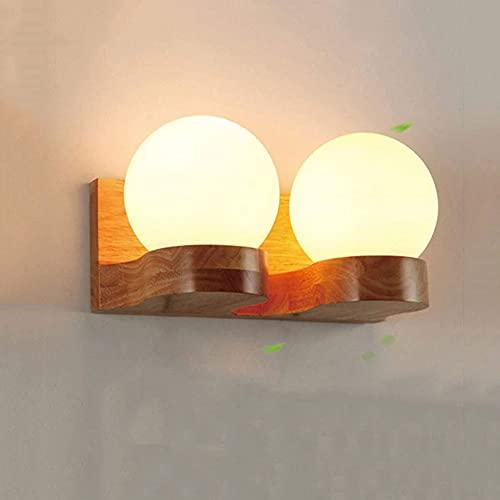 COCNI Creatividad Luces de Pared de Madera Maciza Pantalla de Vidrio de Doble Cabezal Iluminación Decorativa Soporte de Roble E27 Enchufe Lámpara de cabecera Pasillo Habitación Lámpara de Pared