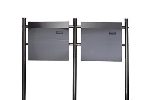 Sarah B Design Doppel Briefkastenständer Set (Ständer und 2 Briefkästen mit Zeitungsfach) Edelstahl 120 cm hoch in Silber.HPB38254 + HPB933, Briefkastenanlage Rostfrei