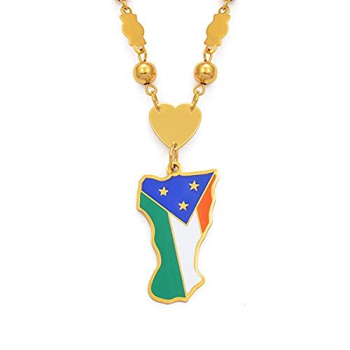 Kkoqmw Mokil Atoll Flag Pendan with Beads Collares para Mujeres Acero Inoxidable y Esmalte Caroline Islands Micronesia Regalos de joyería