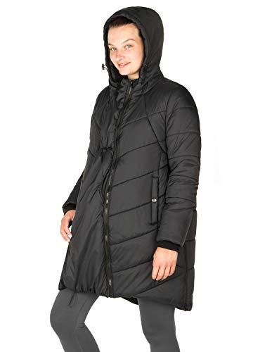 Maternity Cocoon Puffer Coat (Black, Medium)