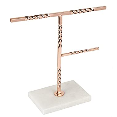 Creative Home Tree Stand with Natural Stone Marble Base 50272 Copper Jewelry Organizer