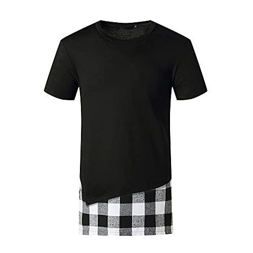 Manga Corta Hombre Shirt Verano Informal Hombre Deportiva Camisa Cuello Redondo Empalme Correr Shirt Dos En Uno Sin Cuello Shirt Cómodo Creativa Transpirable T-Shirt C-Black M