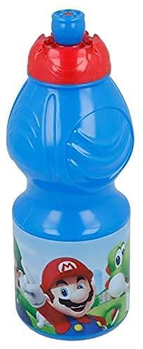 Borraccia Sport in plastica Bottiglia per Bambini 400ML con beccuccio retraibile (Super Mario)