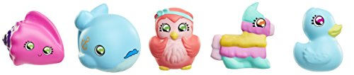 Squish-Dee-Lish 5 Pack Slow-Rise Squishies, Series 3 - Pink Sea Shell, Blue Whale, Owl, Piñata, Blue Duck Bendable-Toy-Figures