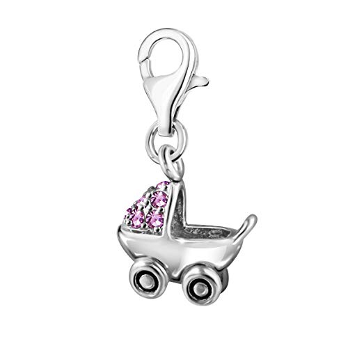 Quiges Charms Anhänger Rosa Zirkonia 3D Kinderwagen Versilbert Damen Schmuck für Bettelarmband