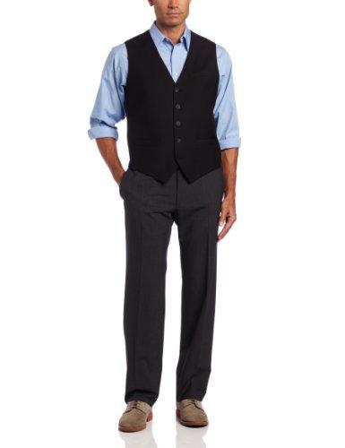 PERRY ELLIS Men's Big-Tall P V Solid Vest, Black, 2X