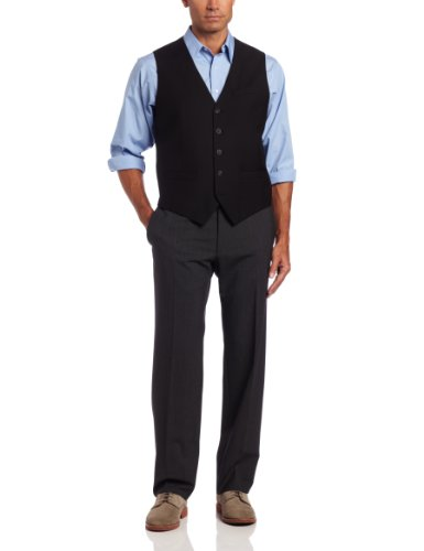 Perry Ellis Men's Big-Tall P V Solid Vest, Black, XX-Large/Tall