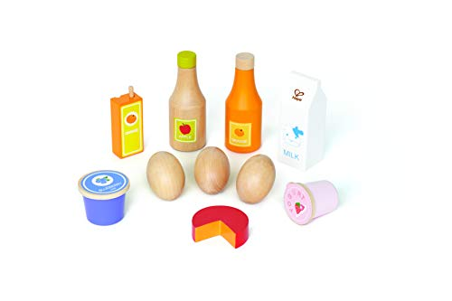 Hape E3108 - gezonde kost, keukenaccessoires, accessoires voor de koopmannenwinkel, van hout