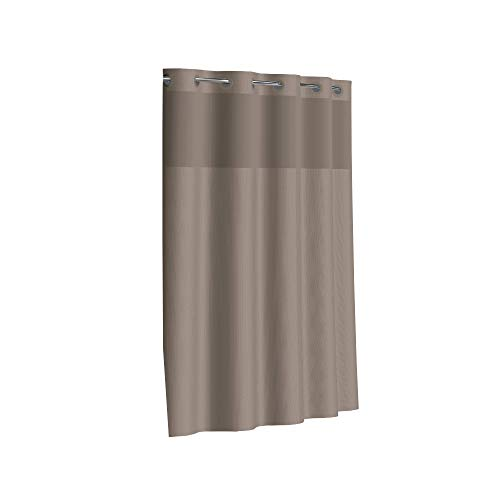 Hookless Fabric 3-in-1 Shower Curtain Set with PEVA Snap-in Liner and Window, 71 X 74in, Desert Taupe, 6 Pack