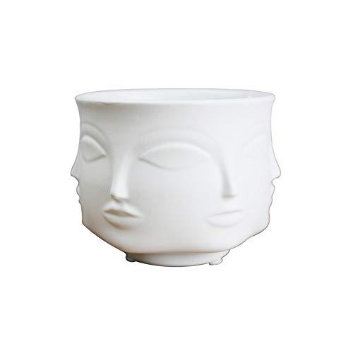 FAGavin Deko Topf Gesicht Keramiktöpfe Kreative Heimat Multi-Fleisch Topf Ornamente Lagerung Lagertank (Color : White)