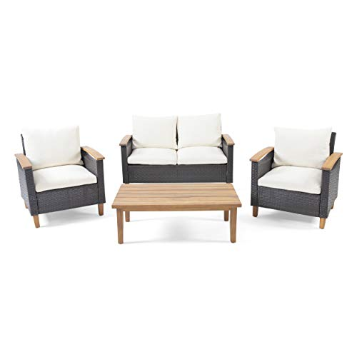 Christopher Knight Home 312610 Doggerville Outdoor 4 Seater Chat Set with Coffee Table, Multi-Brown, Beige, Teak Finish