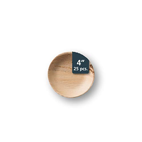 TheClearConscience - Small Palm Leaf Appetizer Plates, 4 round, 1/2 deep, 25 pcs, Bamboo & Wood Style, Biodegradable, Disposable