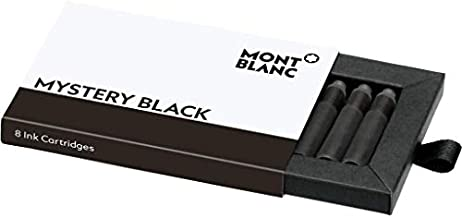 Montblanc Ink Cartridges Mystery Black 105191 – Short International Standard Fountain Pen Refills in Black – 8 Pen Cartridges