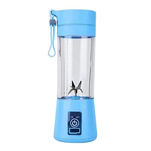 Licuadora portátil de 380 ml Licuadora eléctrica recargable USB Batidora Mezclador de máquina Mini Máquina para hacer jugo Mezclador rápido Procesador de alimentos Mezcladores nuevo, azul, 6 cuchillas