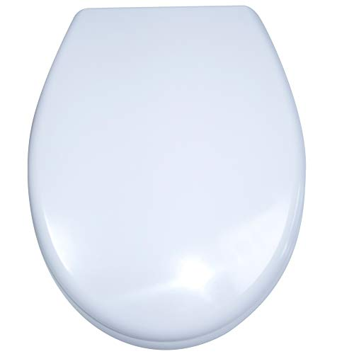 AUFUN Toilettendeckel Absenkautomatik WC Sitz Klobrille mit Softclose Toilettensitz aus Hartplastik Antibakteriell Klodeckel aus Duroplast Universal Größe, 25 Bilder zur Auswahl (Weiß)