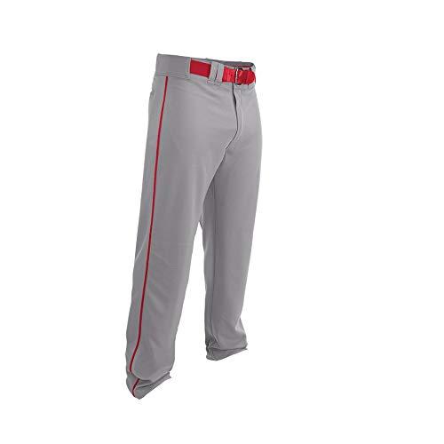 Easton Rival 2 Baseballhose | Erwachsene | XL | Grau Rot | 2020 | Doppelt verstärkte Knie, elastischer Bund, Gürtelschlaufen