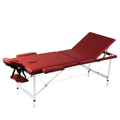 Lettino da Massaggio Pieghevole, Letto Massaggio 3 zone rosso Professionale Portatile per Estetista in alluminio