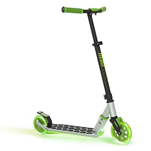 Neon Flash Kids Scooter with LED Lights | Light Up Deck amp Wheels Kick Scooter