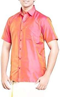 RIRO Focus Men's Plain Silk Cotton Traditional/Ceremony/Formal Half Sleeve Shirt,Pink