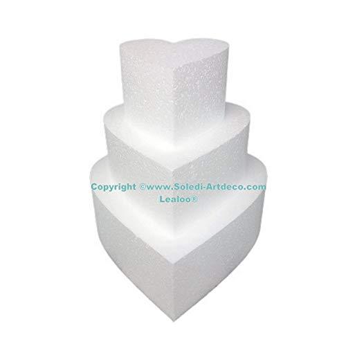 Lealoo - Piccolo pezzo montato a forma di cuore in polistirene, altezza 21 cm, base 20 cm a 10 cm, 3 basi stiro di 7 cm di altezza, alta densità