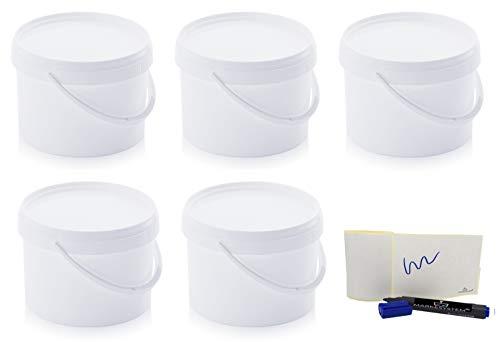MARKESYSTEM Cubo HERMÉTICO Catering-Pack de 5 X 4,4 litros-Cubos de Plástico con Tapa-Contenedores Apilables-Envasar Alimentos, Líquidos y Pinturas-Polipropileno Blanco + Kit Etiquetado