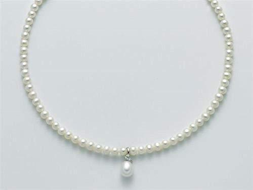 Miluna Collana Oro Bianco 18kt Perle e Diamanti - PCL5759