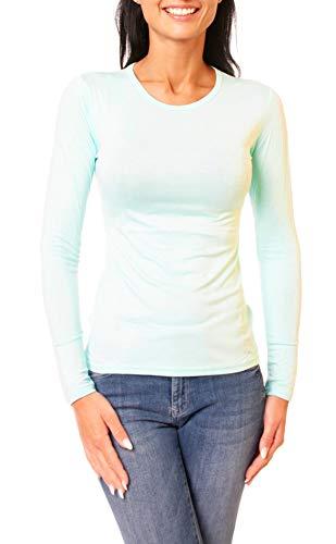 Easy Young Fashion Damen Basic Langarmshirt Skiny Fit Langarm Unterziehshirt Longsleeve Shirt mit Rundhals-Ausschnitt Aqua M 38