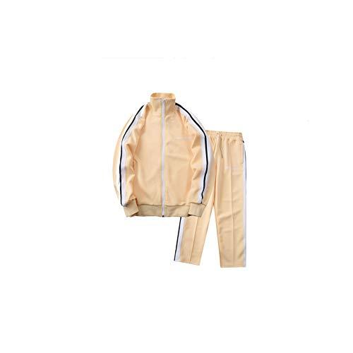 Schwarz-weiße Hose Angels Streifen Anzug Sportjacke Freizeitmantel Lange Hosen Mode Kleidung Aprikose Gr. L, farbe