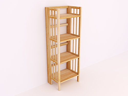 Amayo Home Solid Wood Folding Bookcase Ladder Shelf Standing Bookshelf in Natural Color. Sturdy, Modern & Multi Use for Any Rooms Indoor