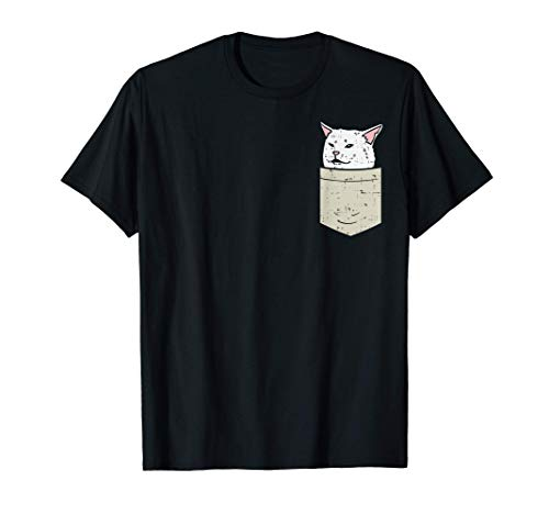 Woman Yelling At Confused White Cat Pocket Meme Funny Smudge Maglietta
