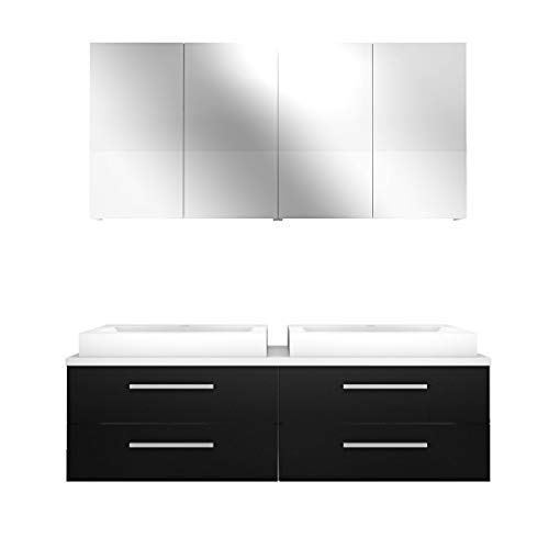 Badmöbel Set City 201 V1 Esche schwarz, Badezimmermöbel, Waschtisch 160cm JA mit 2x 5W LED / 1x Energiebox