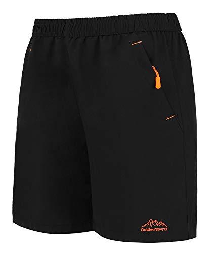Leezepro Outdoor Shorts Herren Sporthose kurz schnell trocknend mit Reißverschlusstasche Trainingsshorts für Outdoor-Sport, Fitness(Verpackung/MEHRWEG) (EU XL/CN 7XL, Schwarz)