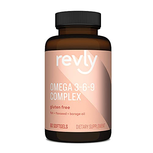 Amazon Brand - Revly Omega 3-6-9 Complex of Fish, Flaxseed and Borage Oil - EPA & DHA Omega-3 fatty acids - 60 Softgels, 2 Month Supply, Satisfaction Guaranteed