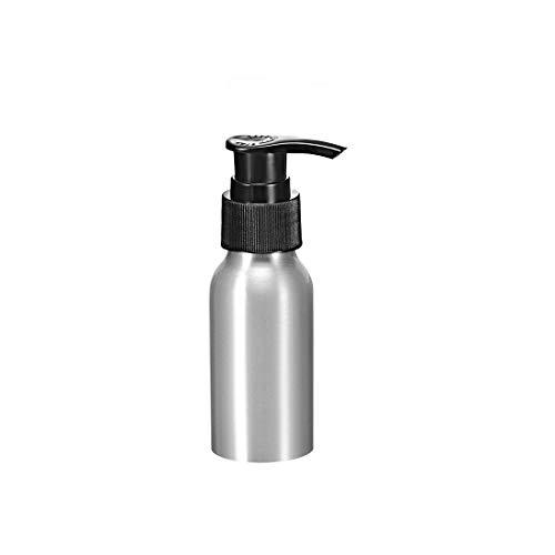 uxcell Botella de aluminio con tapa de bomba negra, recipiente vacío rellenable para botella de viaje