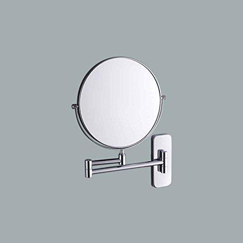 Miroirs de Salle de Bains Mural de Salle de Bains télescopique Double Face 3X Grossissement Normal (Couleur : Square Bottom, Taille : Diameter 20cm)