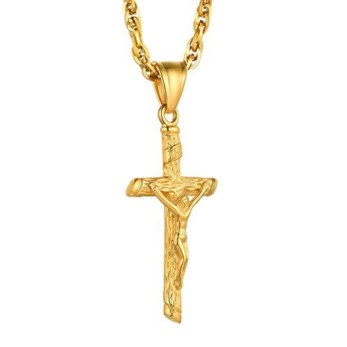 PROSTEEL Collar Cadena Chapado en Oro de Jesús Cruz INRI Mujer U Joyas para Hombre EHE de muñeco o EHE de Mujer/Amigo o Freundin/Hombres y Mujeres Unisex