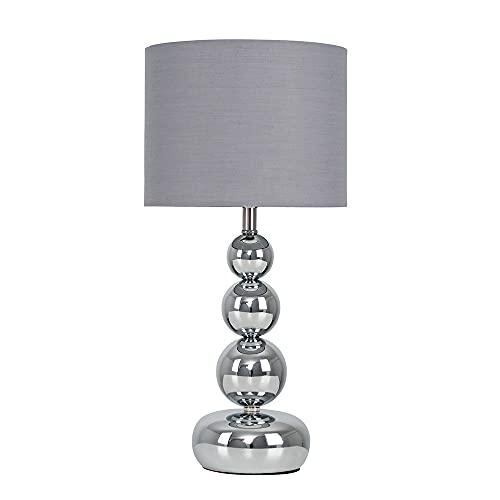 Minisun - Lámpara de Mesa Moderna Táctil – Diseño de Esferas Apiladas con Base en Cromo - Pantalla de Tela Gris – Lámparas de Mesita