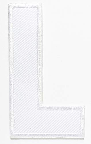 3 INCHES White Letter L Patch Character English Letter A-Z Embroidered Iron On or Sew On Novelty Patch Clothes Bag T-Shirt Jeans Biker Badge Applique Embroidery (Letter L)
