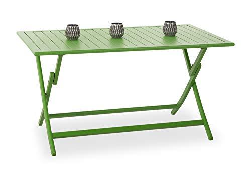 OUTDOOR Gartentisch grün(BHT 140x73x80 cm) BHT 140x73x80 cm grau Gartentisch Klapptisch Holztisch Metalltisch Outdoortisch Balkontisch