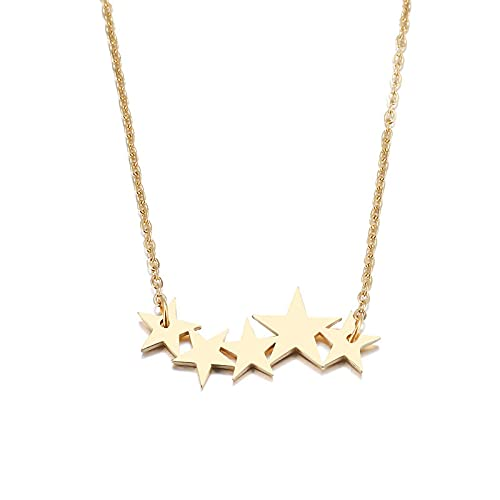 Collar Collar De Acero Inoxidable para Mujer Amante De Oro/Color Oro Rosa Pentagrama Pentagrama Colgante Collar Joyería De Compromiso Oro