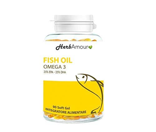 HerbAmour Fish Oil Omega 3 Olio Di Pesce | Certificato | Nuove Perle Softgel Senza Ritorno di Gusto | 90 Perle Softgel | Con EPA e DHA Ad Alto Dosaggio | Acidi Grassi Essenziali