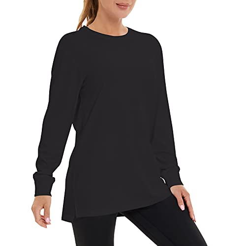 Casei Women's Long Sleeve T-Shirt Crew Neck Basic Layer Cotton Sweatshirt Ribbed Cuffs Hems Pullover Shirts,Black L