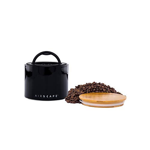 Airscape Ceramic Coffee and Food Storage Canister 4 Small - Patented Airtight Inner Lid Releases CO2 and Preserves Food Freshness - Glazed Ceramic with Bamboo Top - Obsidian Black
