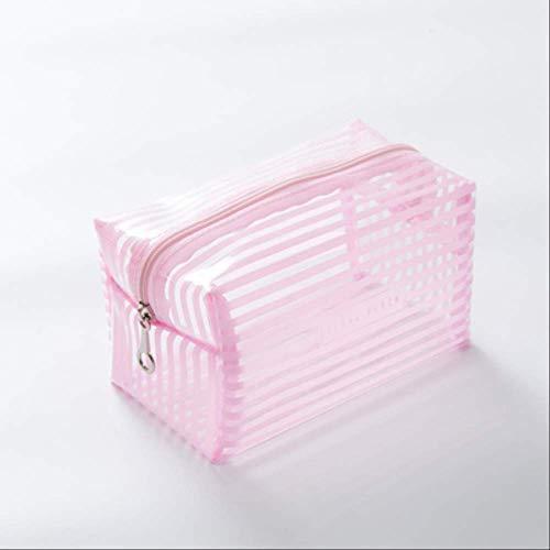 Zhoudashu Portable Imperméable À L'Eau Transparent Sac De Maquillage Fashion Striped Zipper Cosmetic Storage Bag Lady Travel Wash Bag 19 * 10 * 11Cm Rose