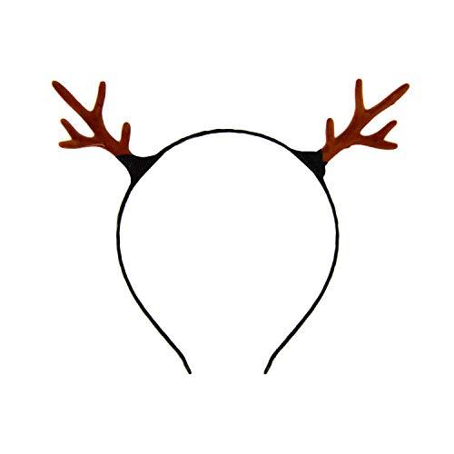 Oblique Unique® Haarreifen Rentier Hirsch REH Geweih Haarreif in Braun Kopfschmuck Accessoire für Weihnachten Fasching Karneval