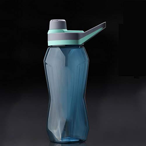 Outdoor Sportflasche aus Sport Cup Fitness Kunststoff Kessel Gerade Cup großer Kapazitäts-Sport Cup bewegliche im Freien Kessel Anti-Sturz-Cup Versiegelt Auslaufsicher Wasserflasche ( Größe : Blue )