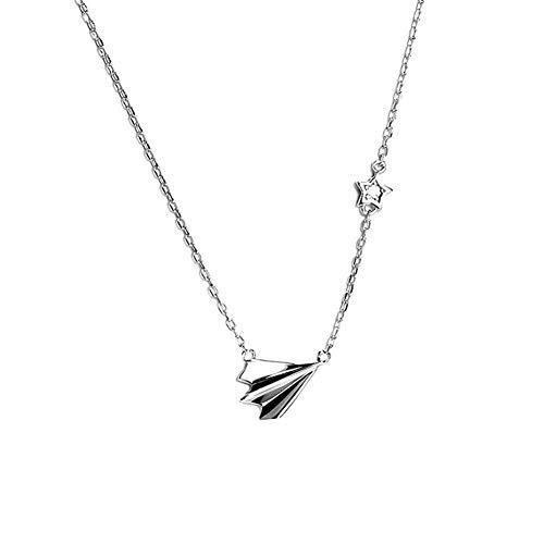 daliuing, Damen Schmuck Halskette, S925 Sterling Silber Papier Flugzeug Schlüsselbein Kette, einfache Damen Schmuck Halskette Schmuck Geschenke