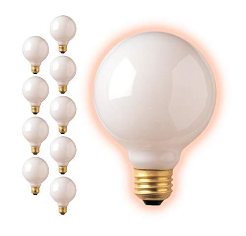 25 Watt G30 Globe Light Bulbs | Frosted Finish Medium E26 Base 2700K Soft White | Dimmable 25W 350 Lumens | Ideal Vanity Light Bulbs | 10 Pack by GoodBulb
