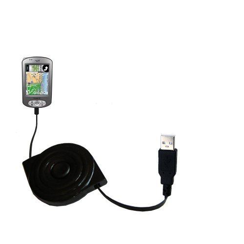 Gomadic compact and retractable USB Charge cable for Mio P350 - USB Power Port Ready design and uses TipExchange