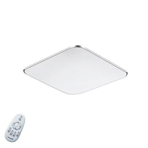 Fscm 12W LED Deckenleuchte Lampe Modern Deckenlampe Deckenleuchten für Bad Schlafzimmer Küche Balkon Korridor Büro, PVC Abdeckung Alu Rahmen Platz 30x30x10cm 2800-6500K Dimmbare mit Fernbedienung IP44